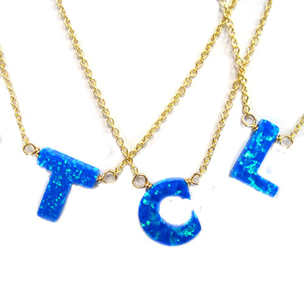 Ocean Blue Opal Initial Letter Necklace