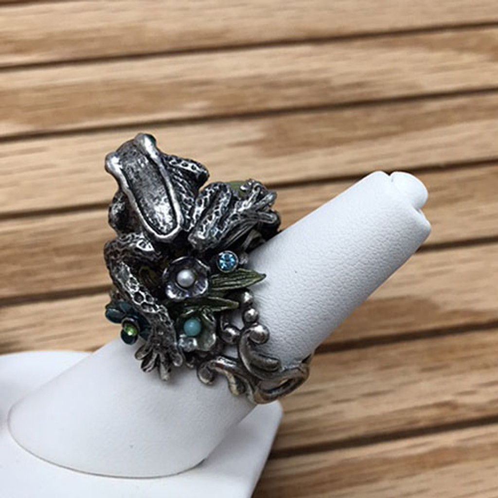Frog Sitting on Green Stone Ring