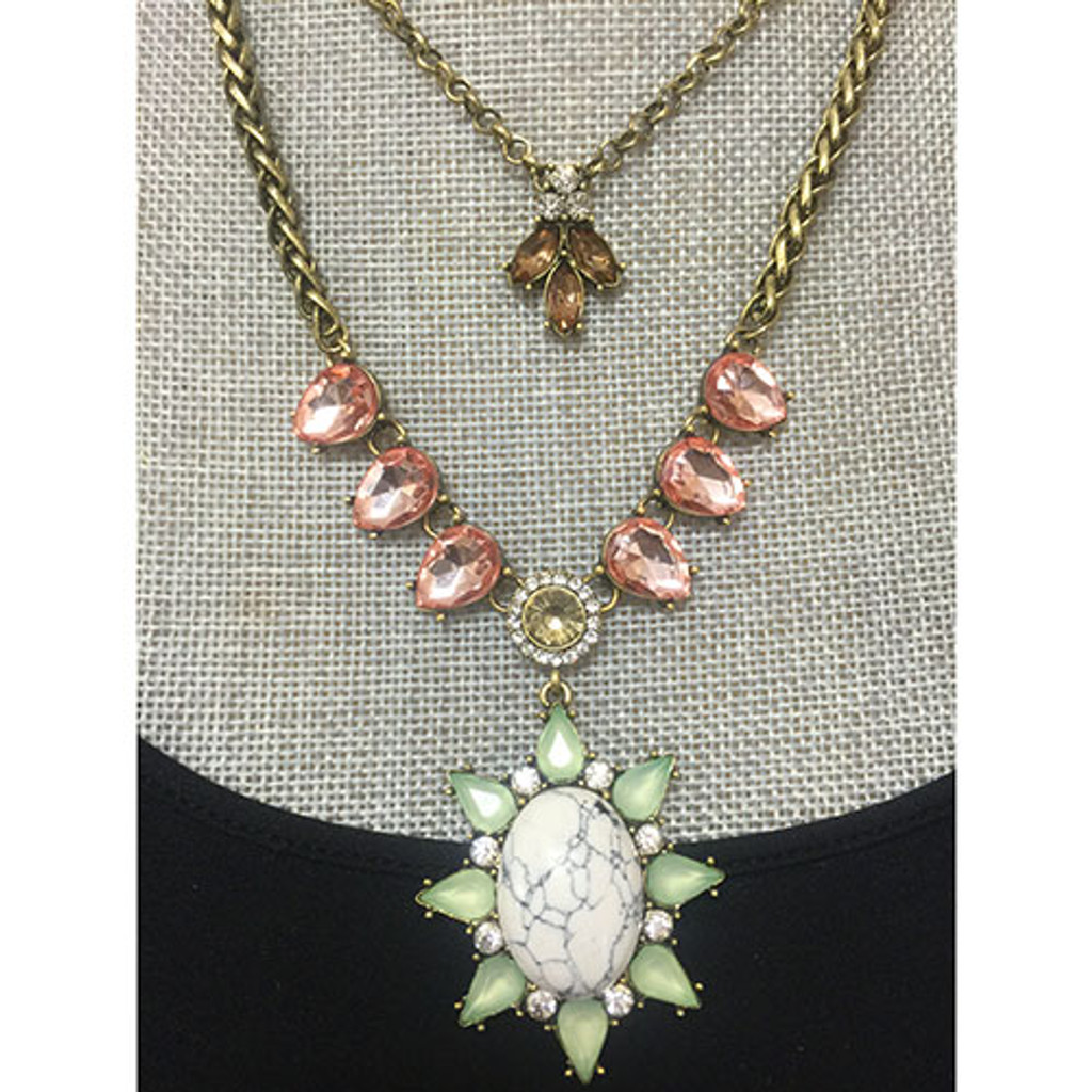 White Sun Layered Necklace