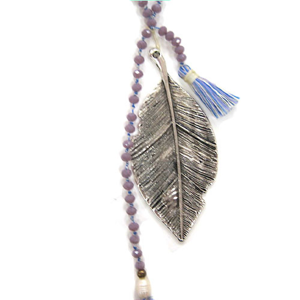 Zacasha's Crystals, Leaves and Blue Multi-colored Tassels