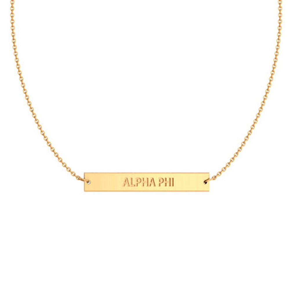 Alpha Phi Gold Infinity Bar Necklace