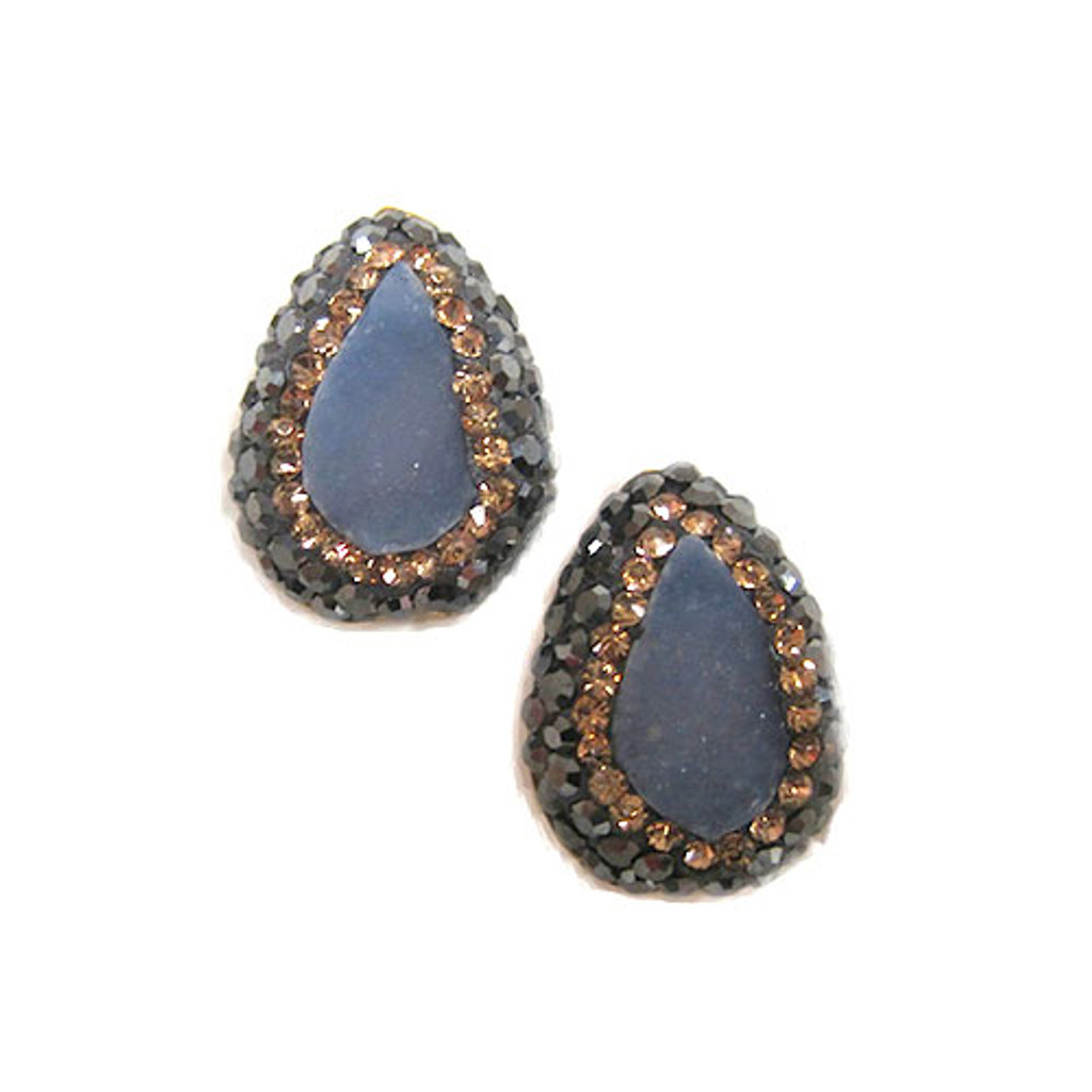 Blue Chalcedony Teardrops with Topaz and Hematite Crystals