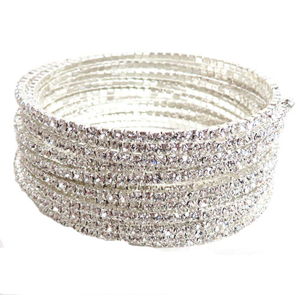 Crystal Coil Bangle in Silver