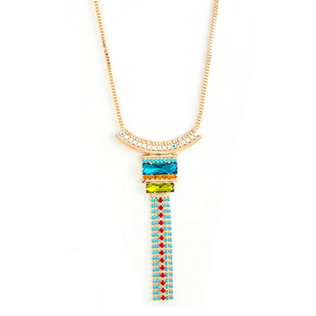 Long Bold Colored Crystal Fringe Necklace