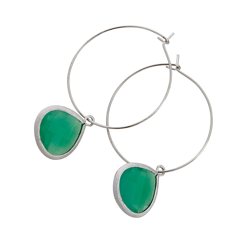 Emerald Faceted Stone Hoop S