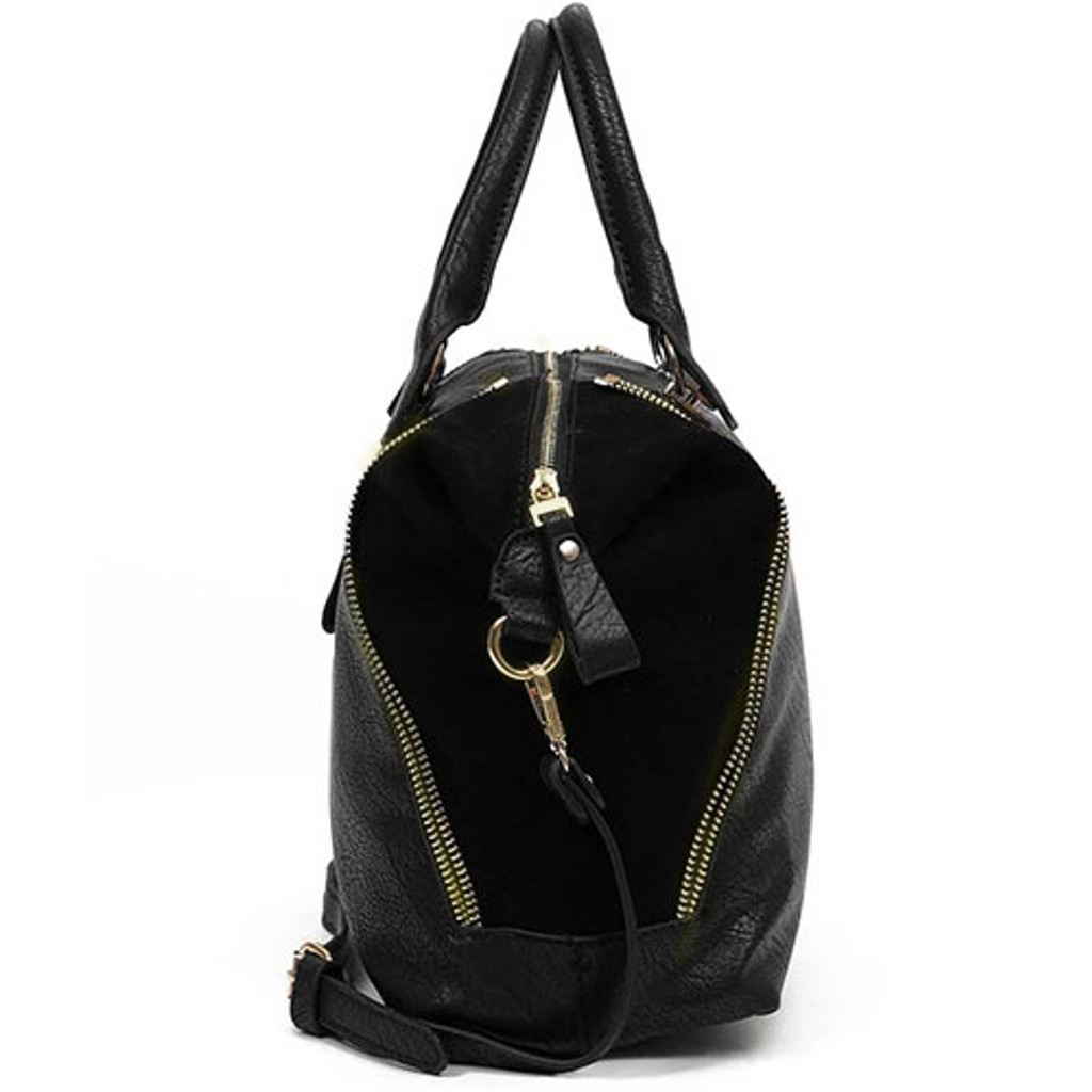 Sondra Roberts  Nappa Leather and Suede Satchel in Black