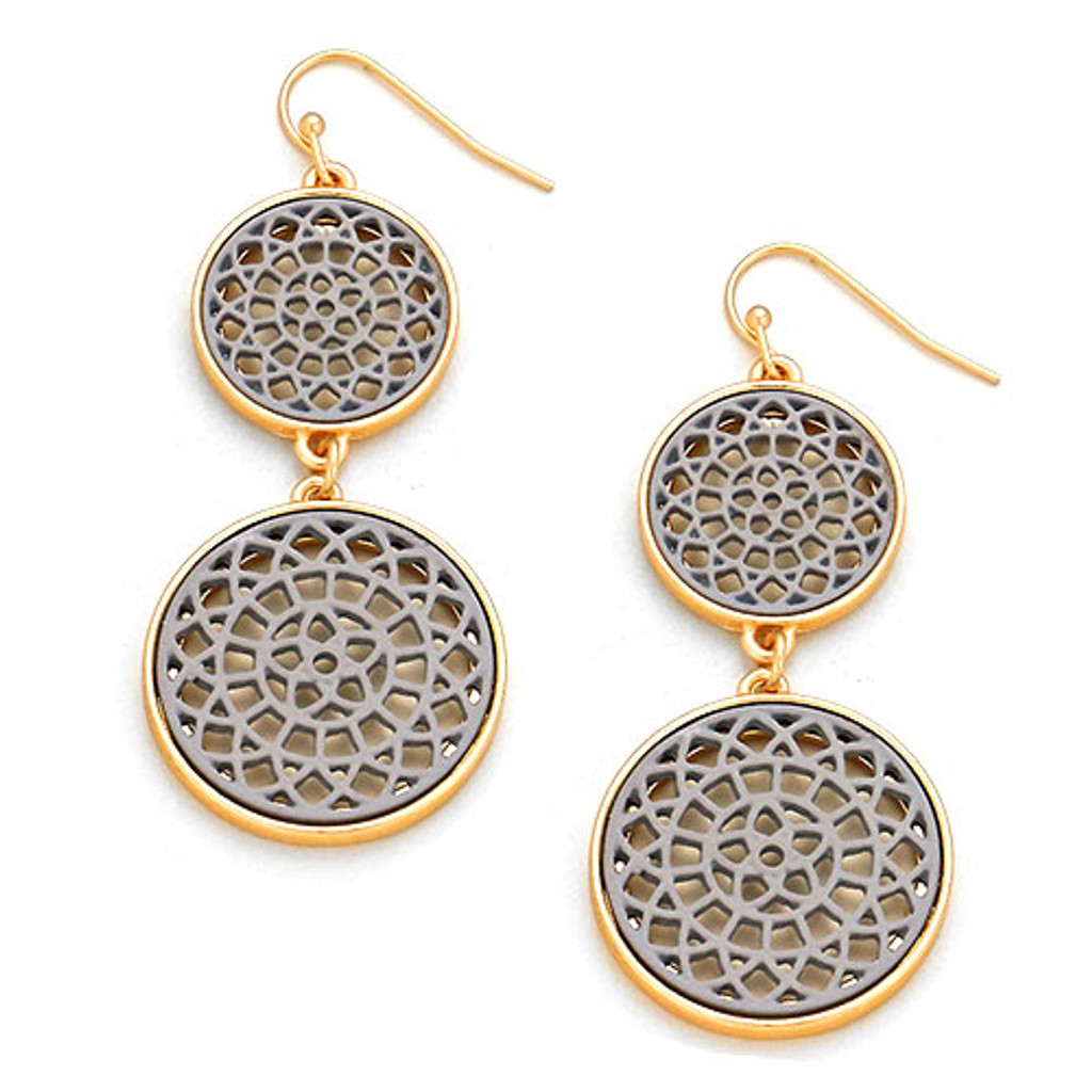 Gray Lacey Lotus Double Circle Earrings