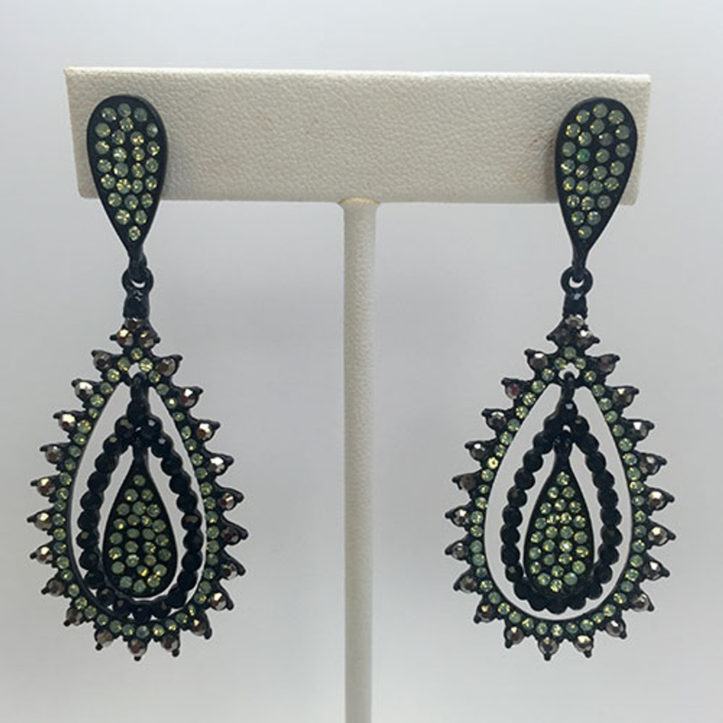 Jet Black and Pacific Mint Romantica Earring