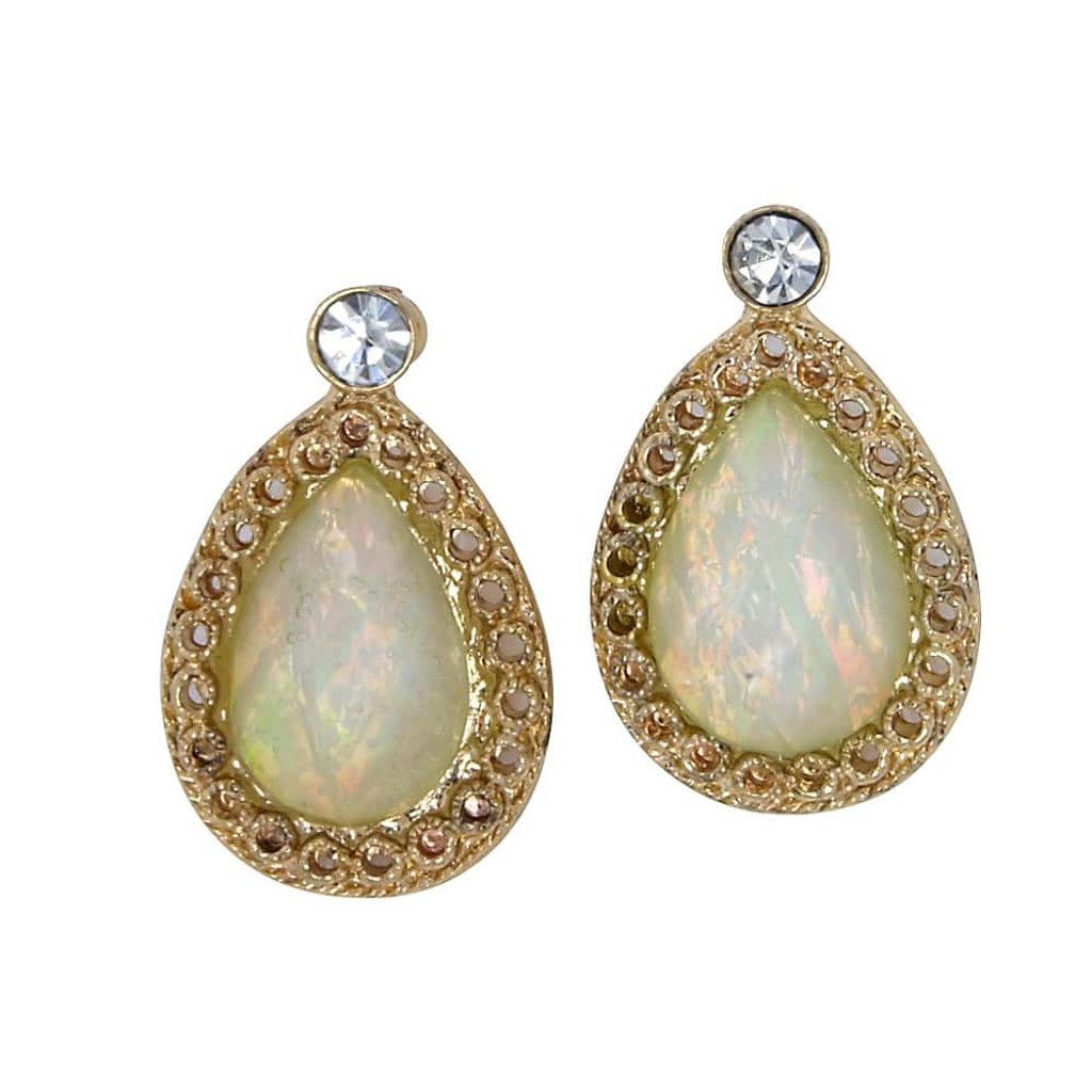 White Opal Teardrop Post