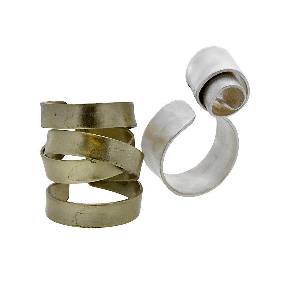 Sculptural Curly-Cue Rings