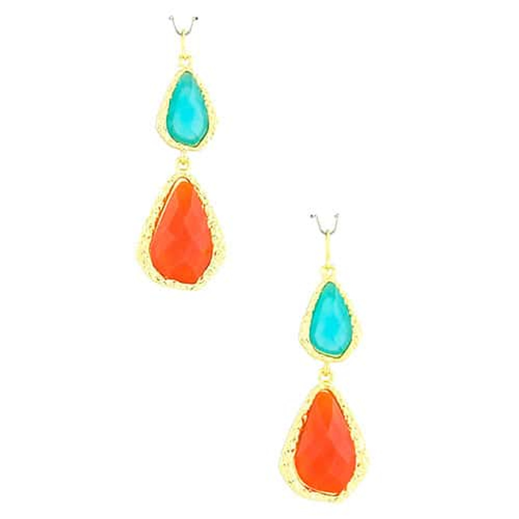Turquoise/ Orange Double Teardrop Acrylic Earring