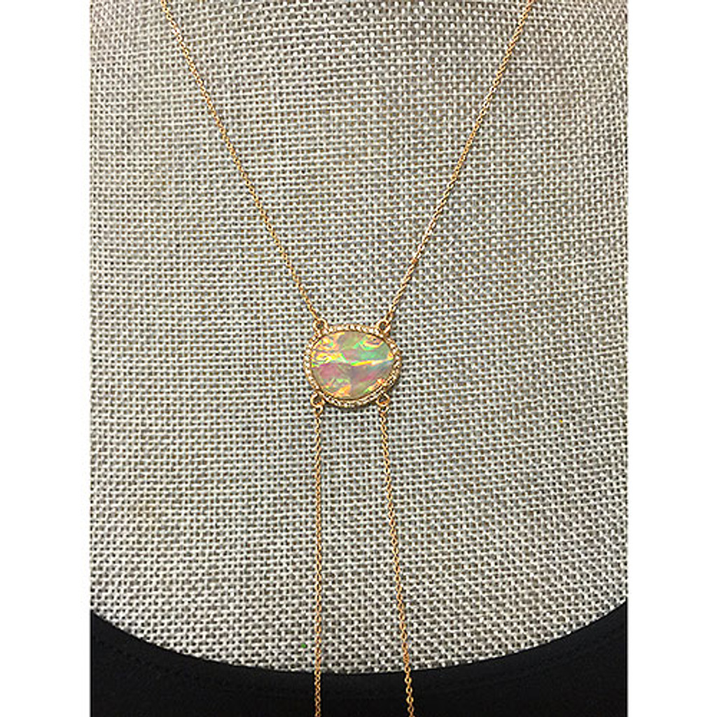Golden White Opal Resin Bolo Necklace