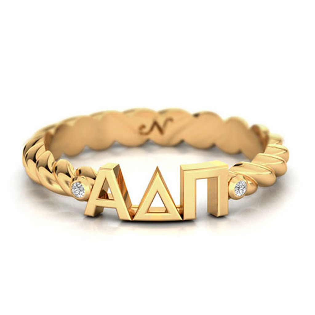 Alpha Delta Pi Gold Pav© Twist Letter Ring