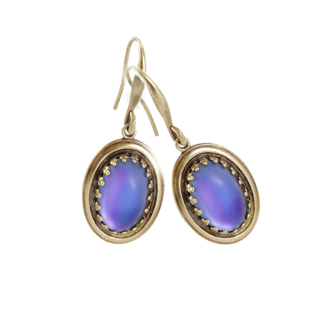 Vintage Purple Oval Opal Earring