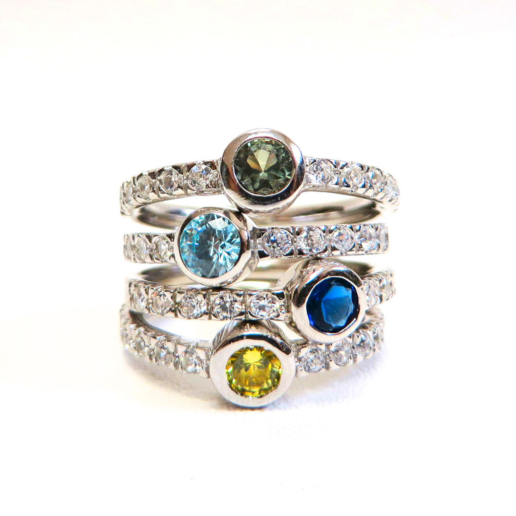 Four Stackable Round Cubic Zirconia and Gemstone Set