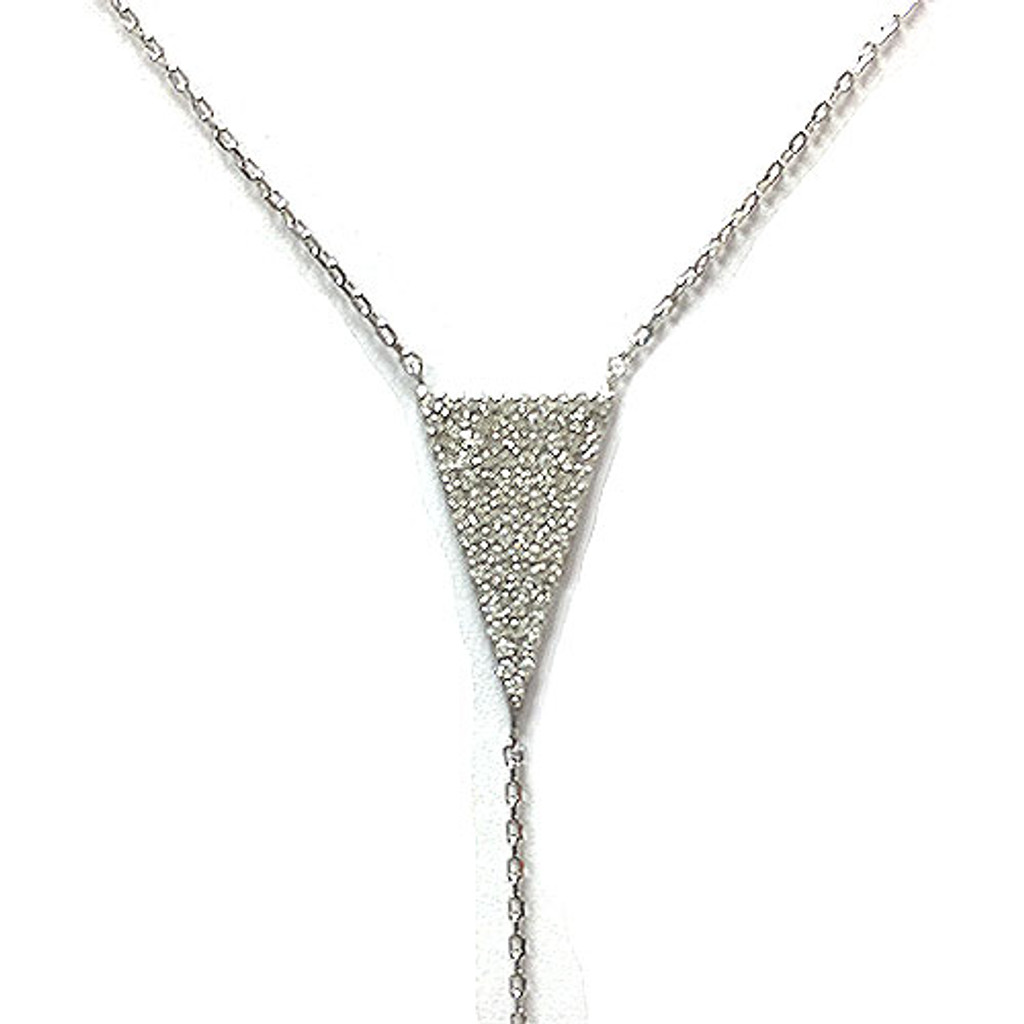 Sterling Silver & C.Z. Triangle and Arrow Y-Necklace