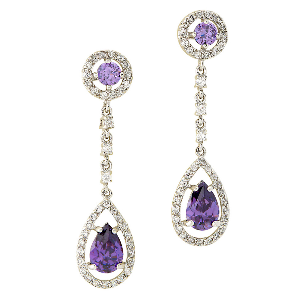 Purple Velvet Teardrop Dangle