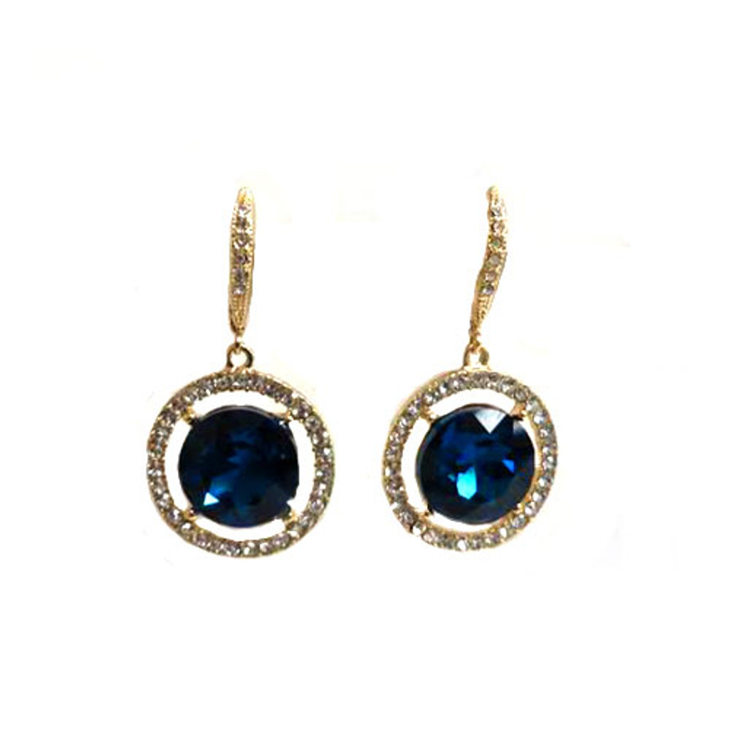 Floating Blue Crystal Earring