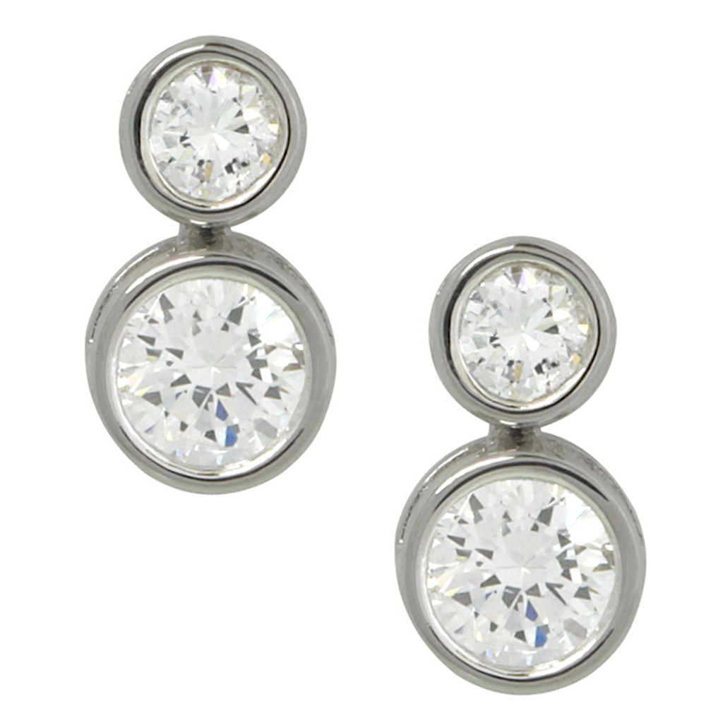 Double Bezel Set Cubic Zirconia Earring