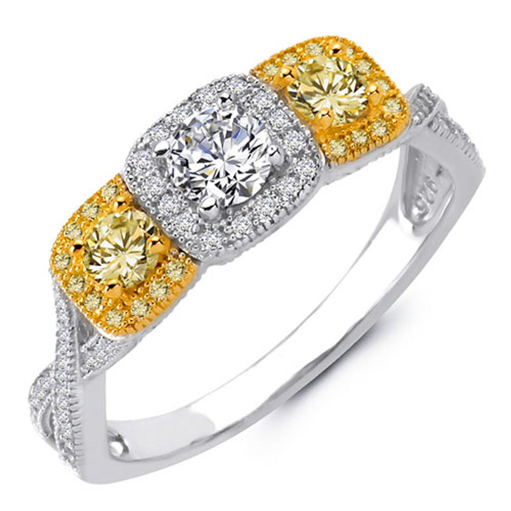 Lafonn's Three Stone Canary Diamond Ring