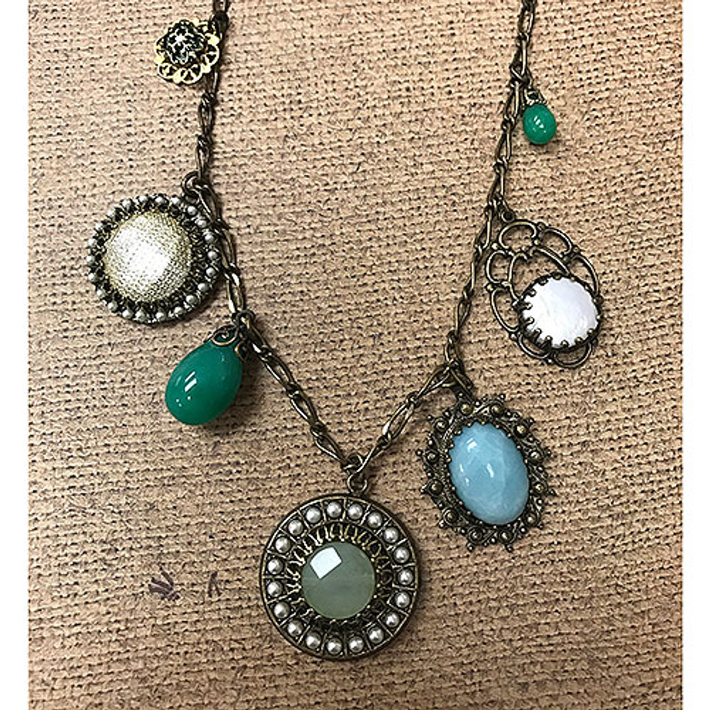Vintage Elements Necklace with Turquoise and Chinese Jade