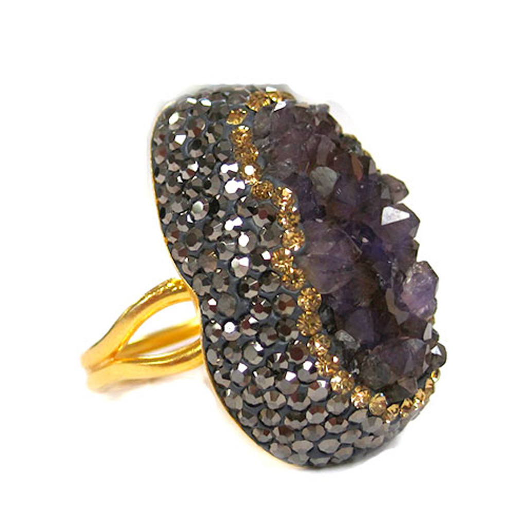 Smokey Quartz Elongated Druzy Ring