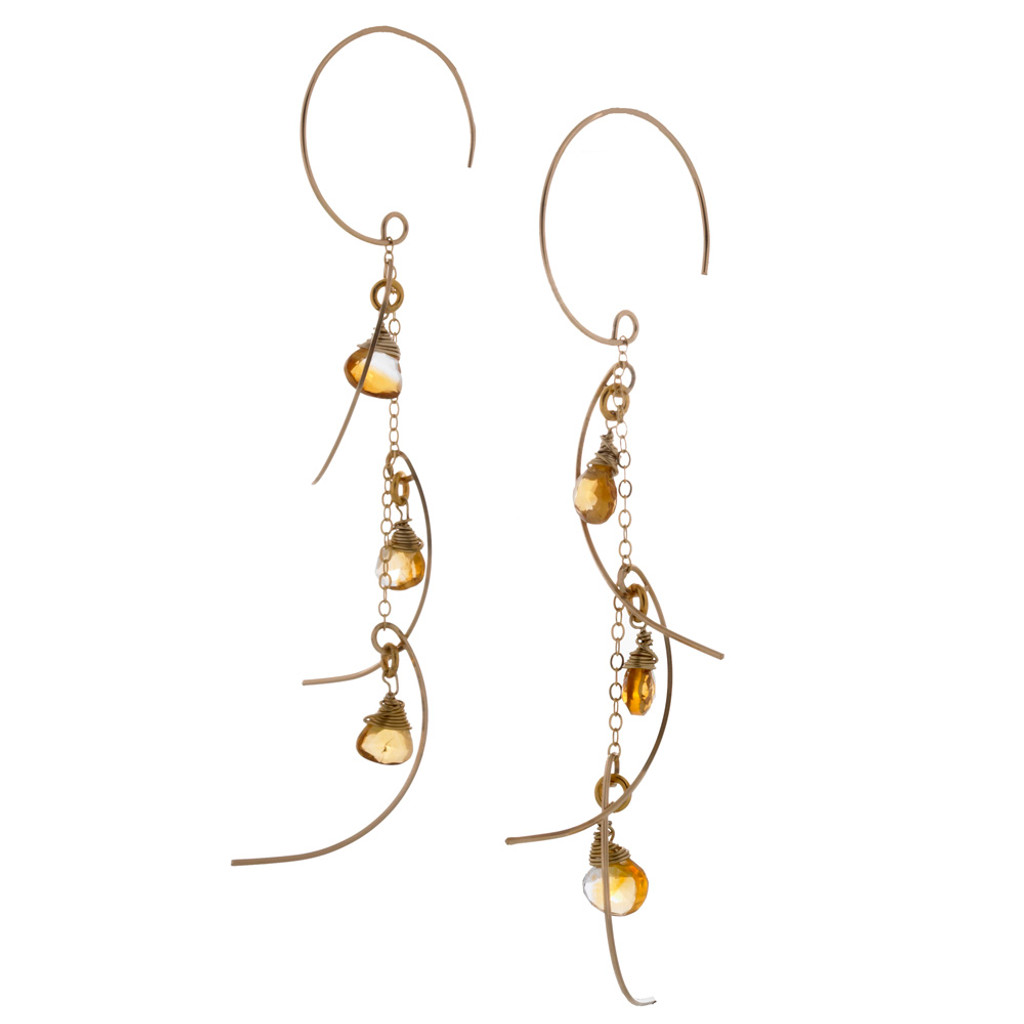 Zia's Silver Sticks and Stones With Citrine Crystals