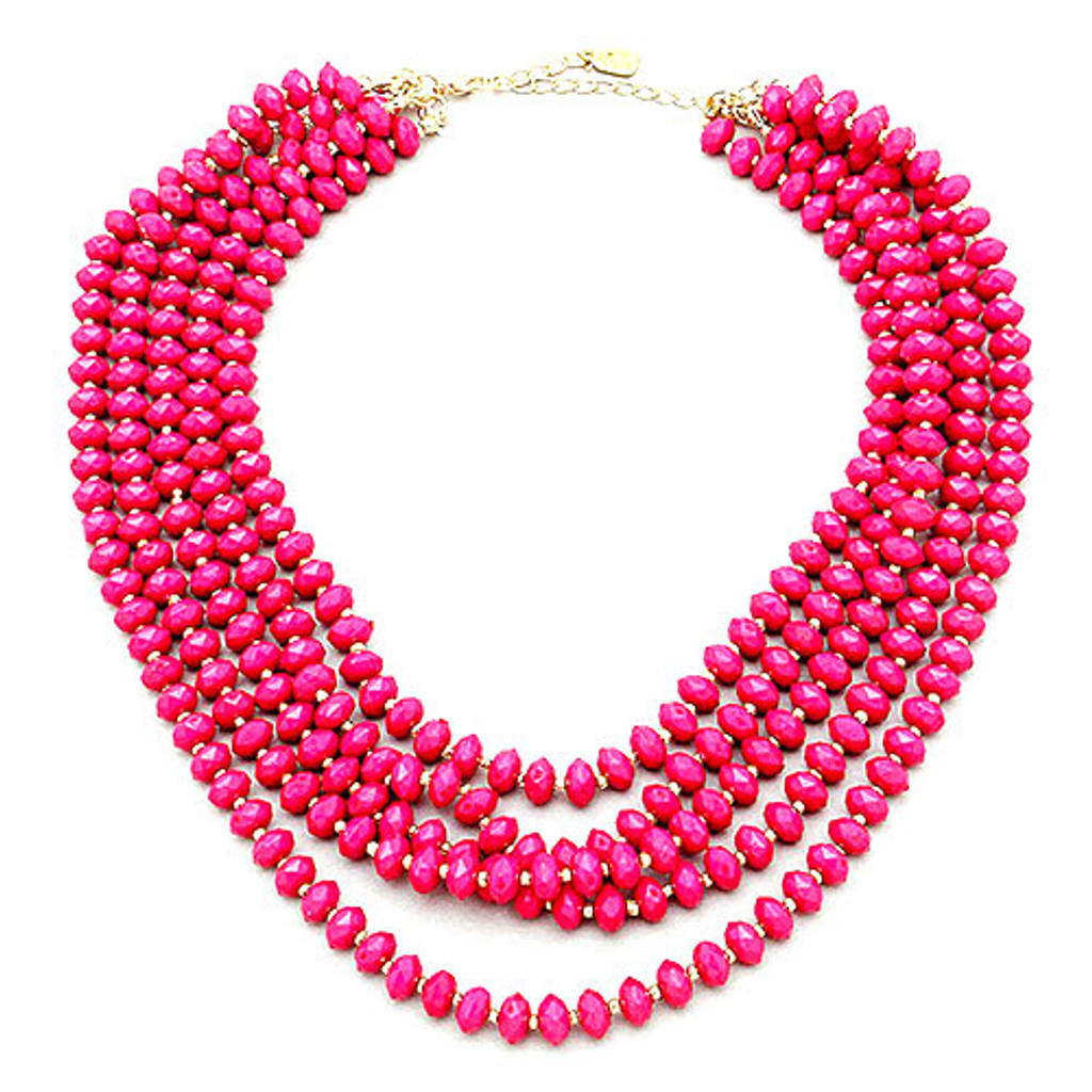 Lots of Lovely Pink Bead Layers Necklace