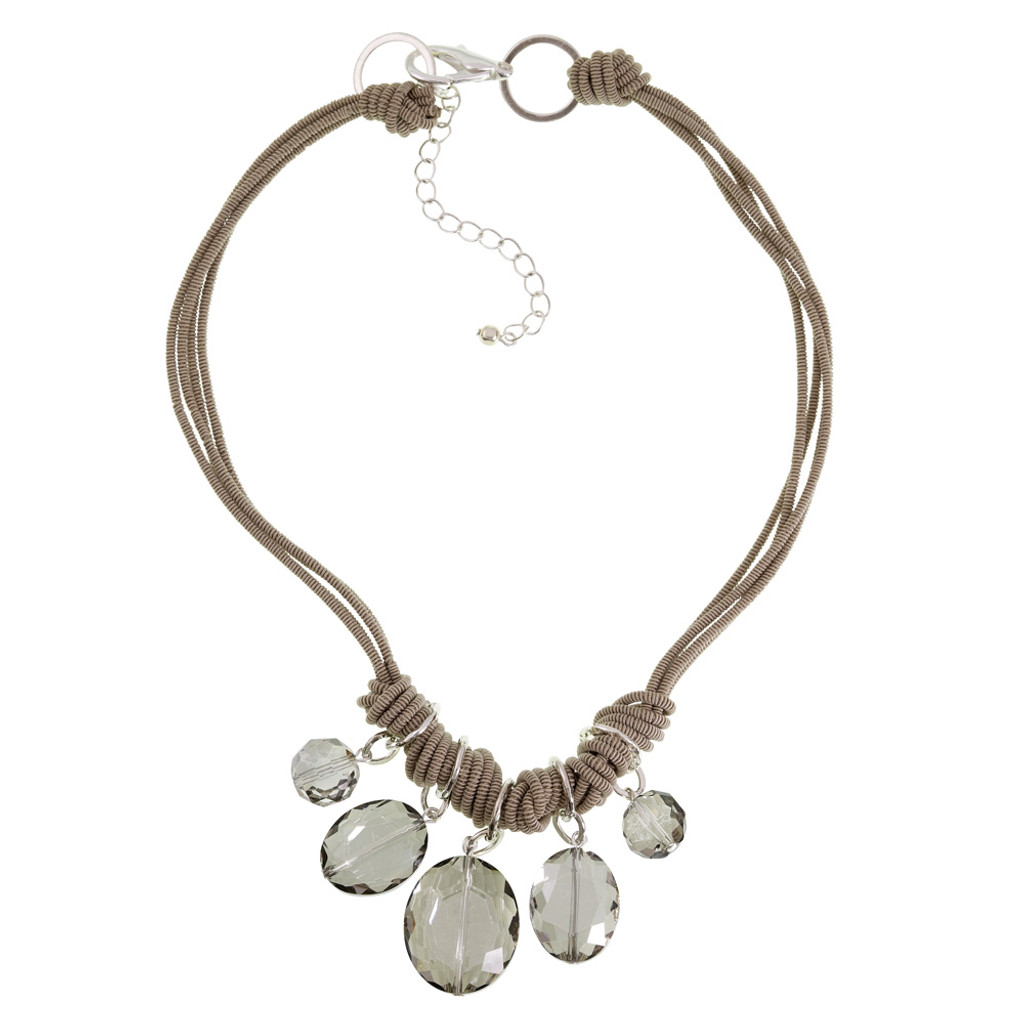 Debra Grivas's Two Tone Five Oval Crystal Station Necklace
