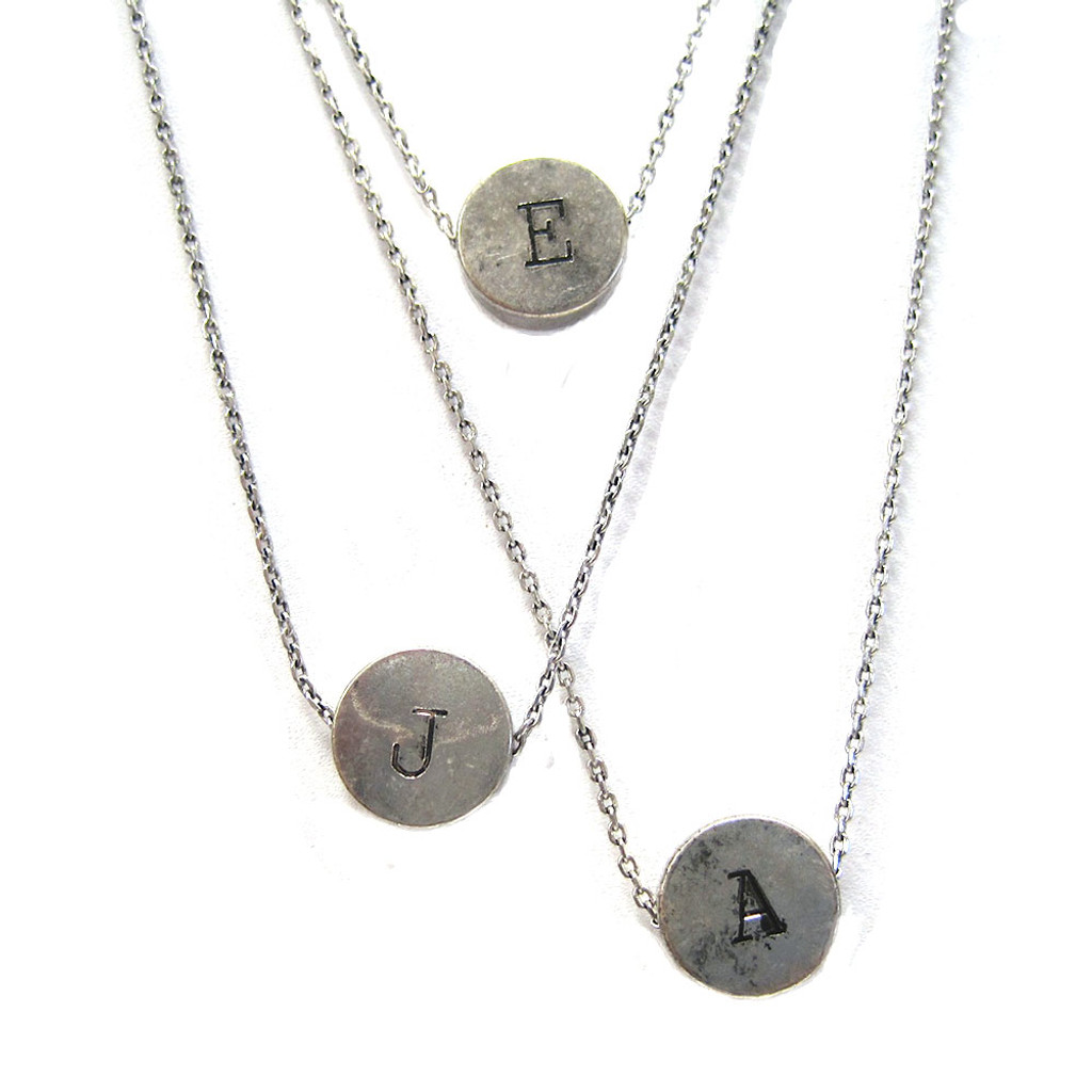 Antiqued Silver Vintage Typewriter Key Initial Necklace