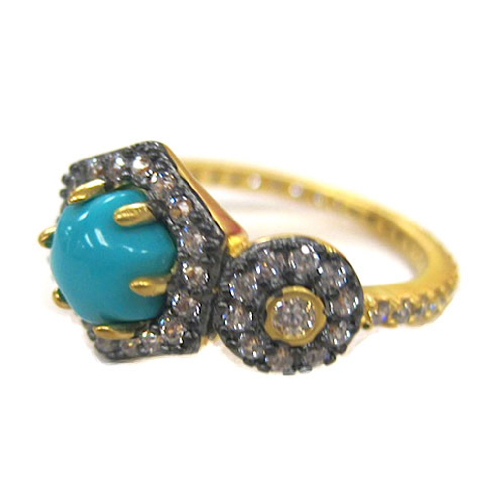 Freida Rothman's Turquoise Cabochon and Circle Ring