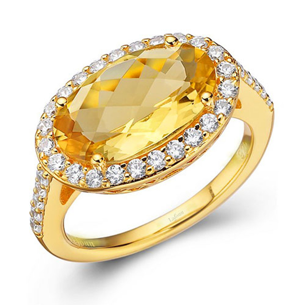 Lafonn's Sideways Oval Citrine Ring