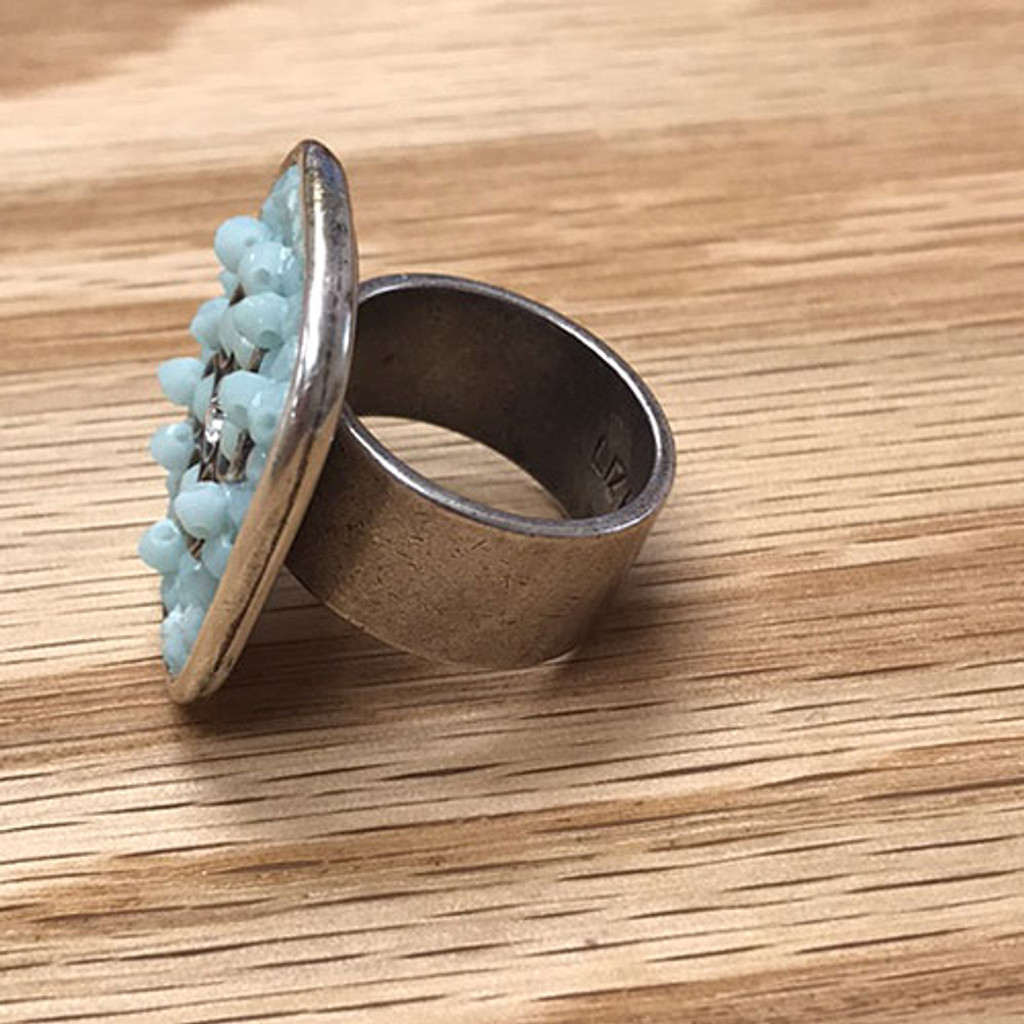 Large Rock Candy and Flower Ring