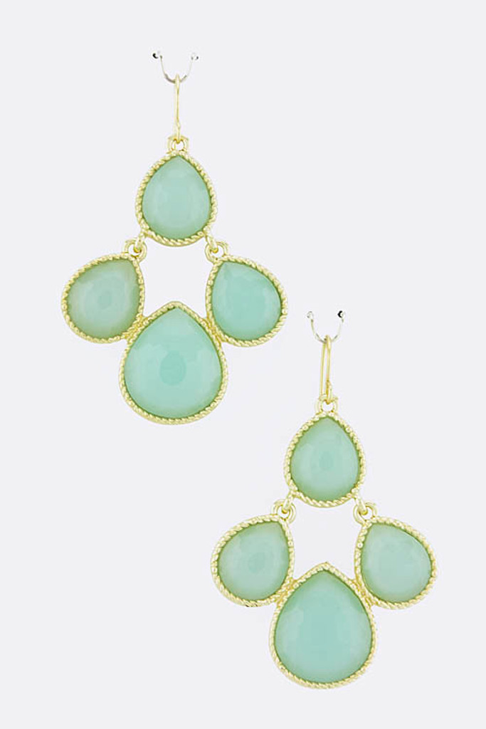 Mint Citrus Dew Drop Jewel Earrings