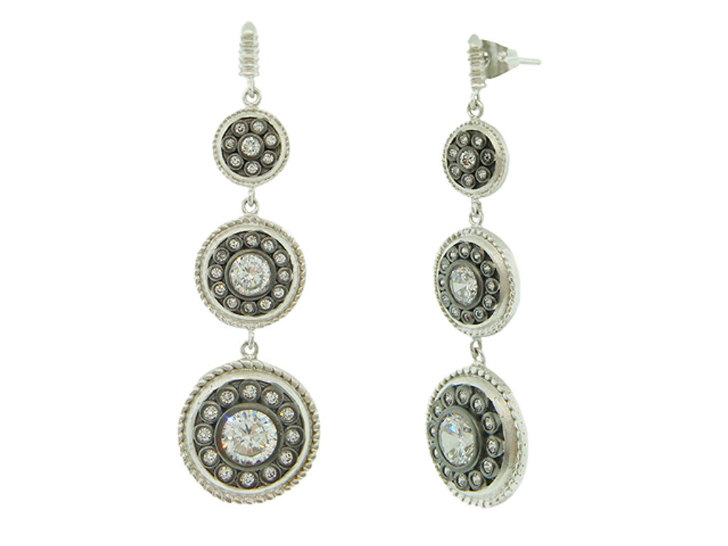 Freida Rothman's Triple Shield Dangle Earring B/S