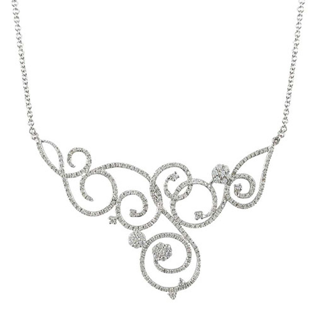 Lavish Swirls of C.Z.s Necklace