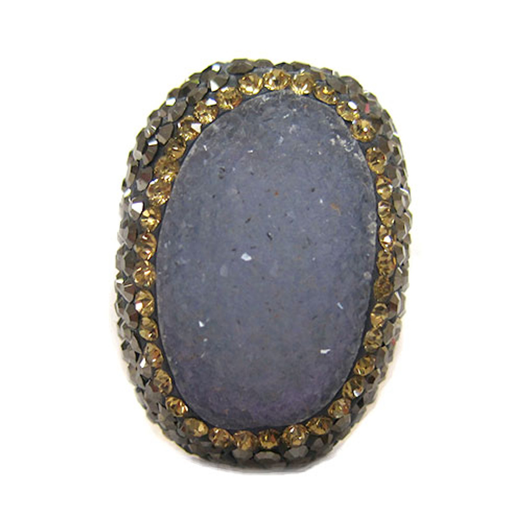 Blue Amazonite Druzy Ring