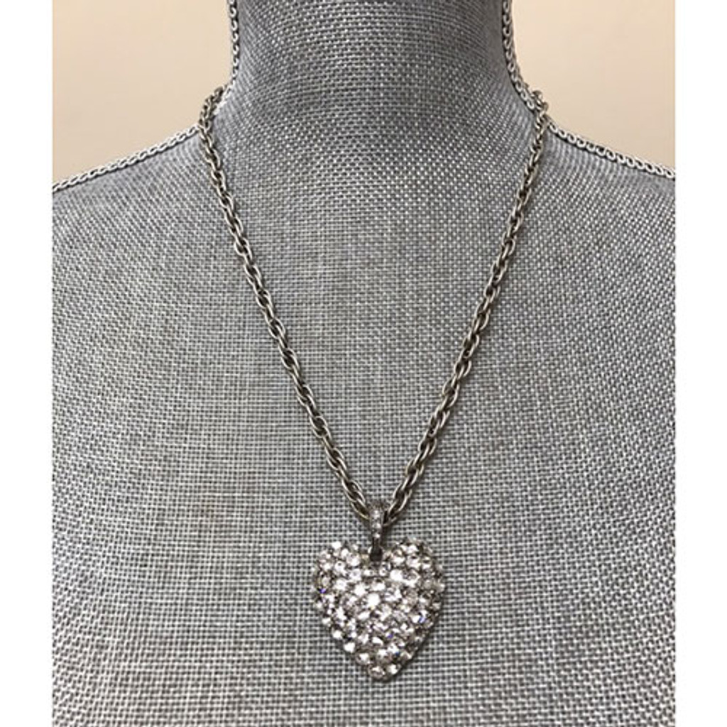 Antiqued Silver with Clear Pave Large Heart Necklace