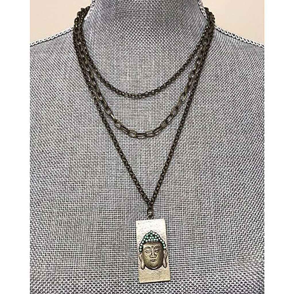 Triple Chain Buddha Dog Tag necklace