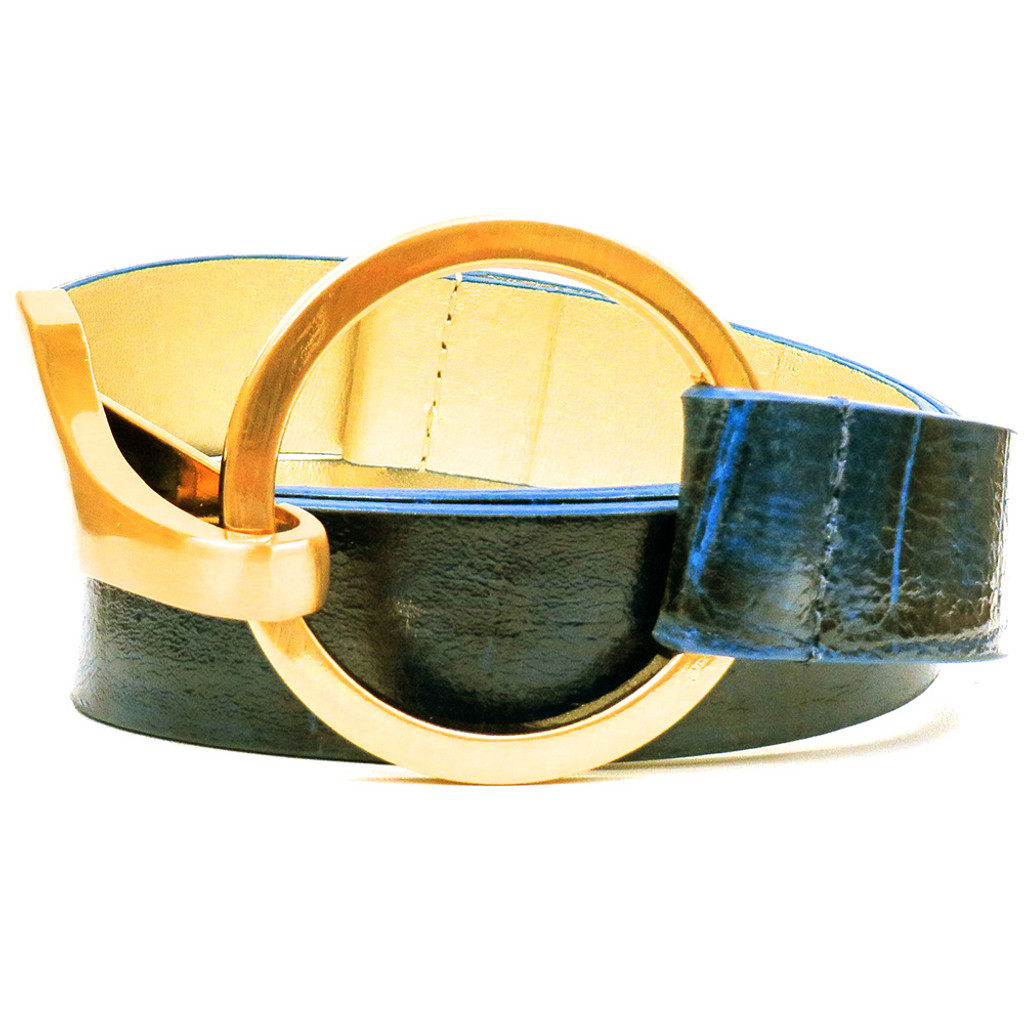 Navy Blue Embossed Alligator Belt