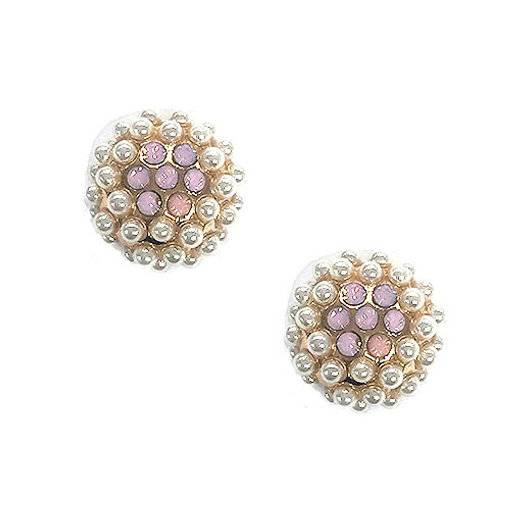 Seed Pearl Cluster Dome with Pink Crystal Flower Earring