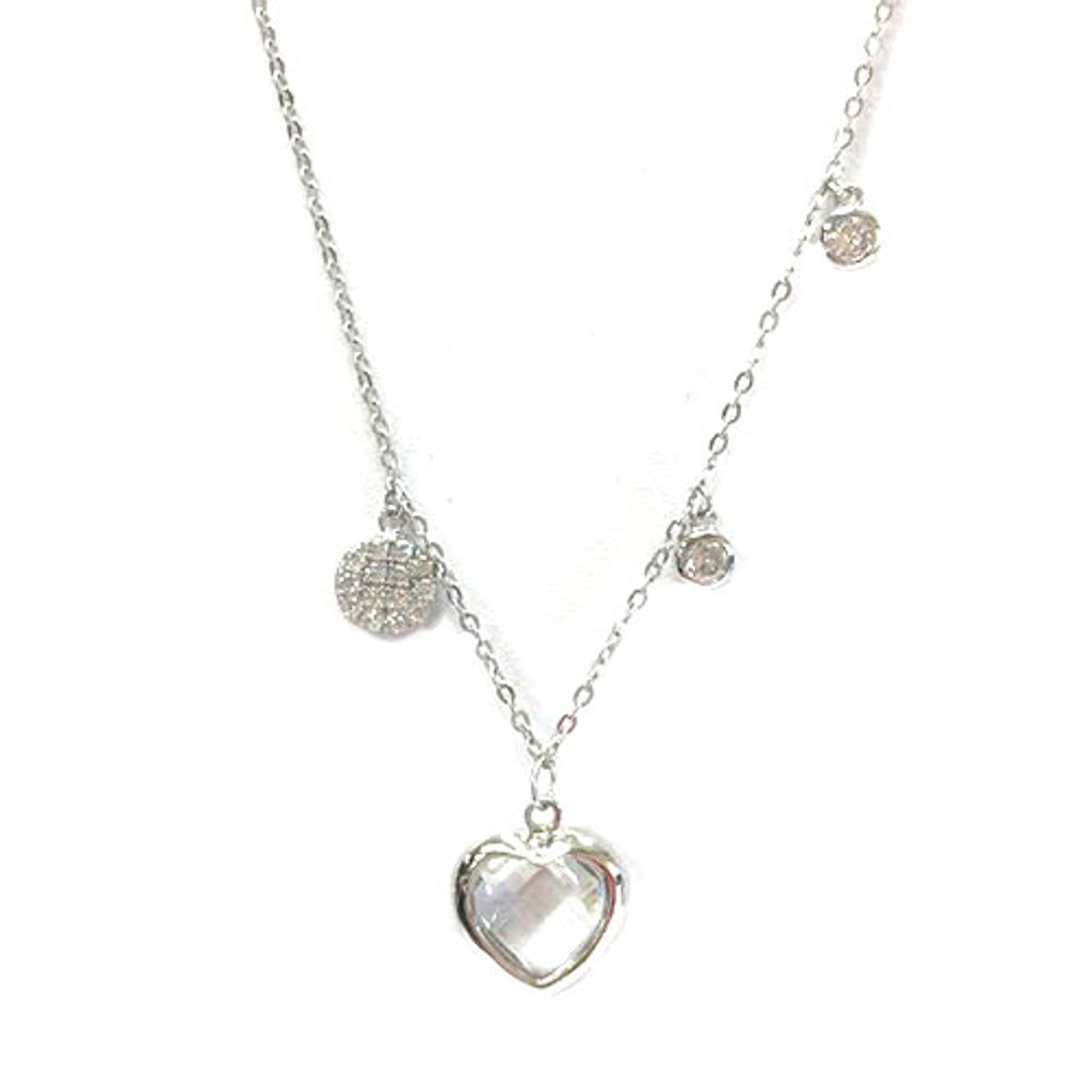 Sterling Bezel Heart and Charms Necklace