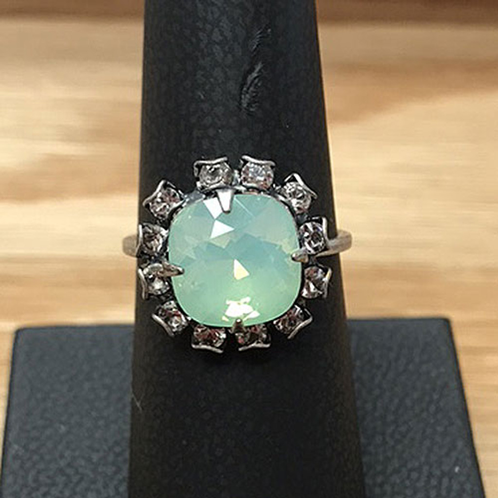 Mint Alabaster Crystal Solitaire Ring