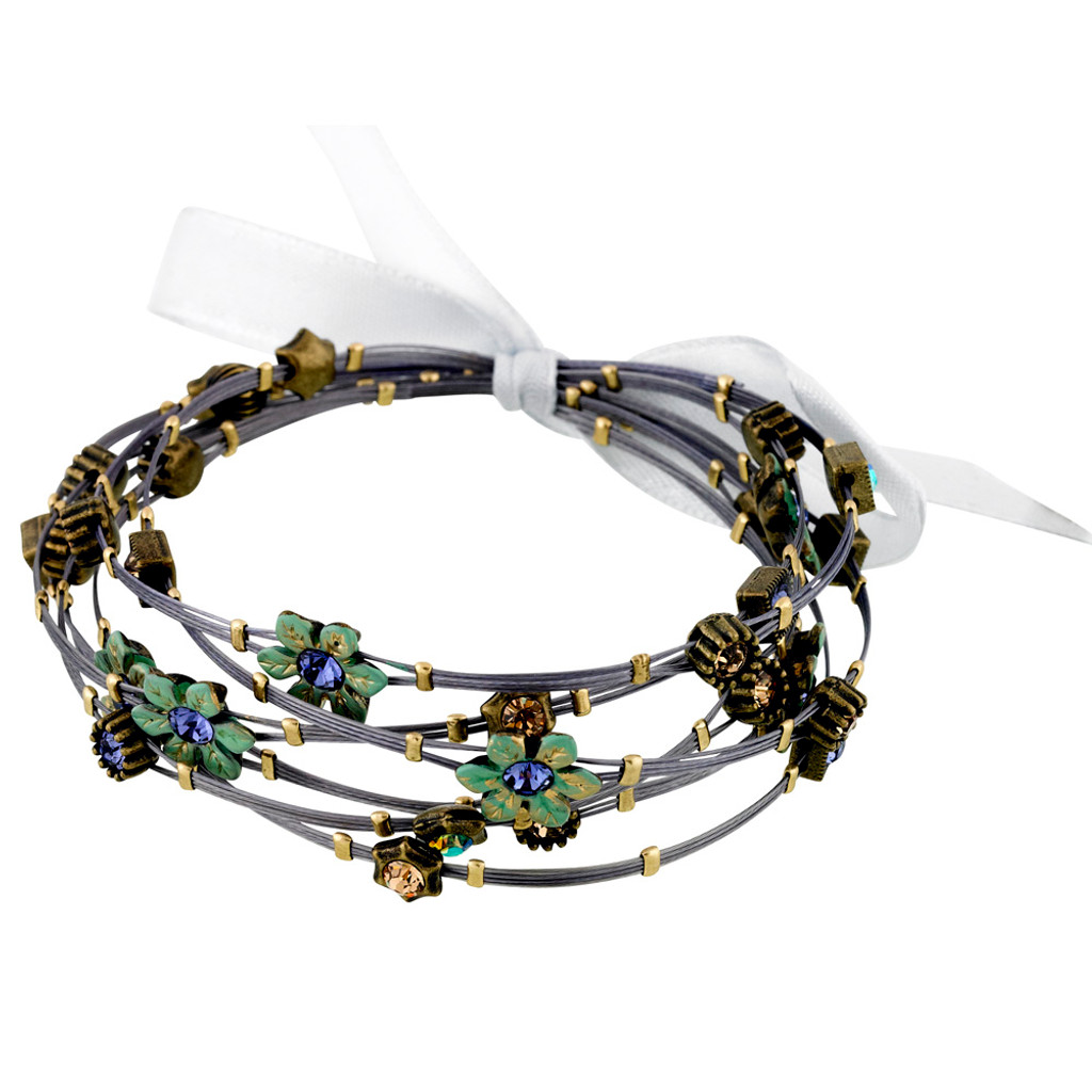 Patina Green Flower Whisper Bracelets with Amethyst and Peridot AB