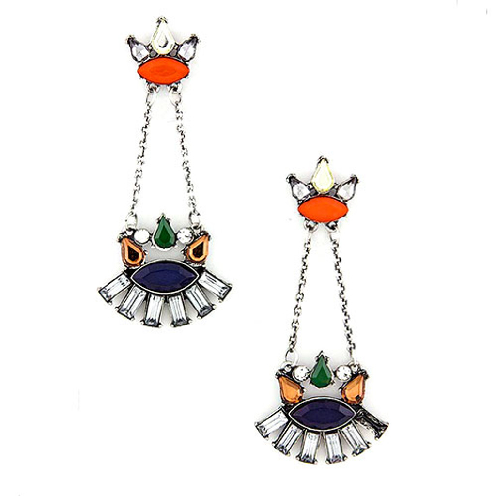 Navy Blue and Orange Heritage Dangles