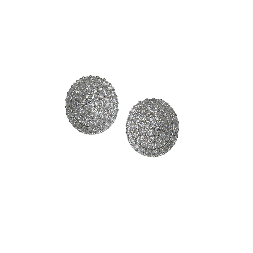 Domed Pave Button Earring