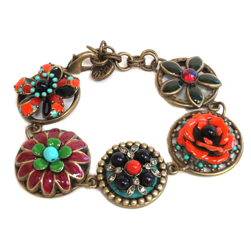 Five Vintage Inspired Enamel Button Bracelet 1