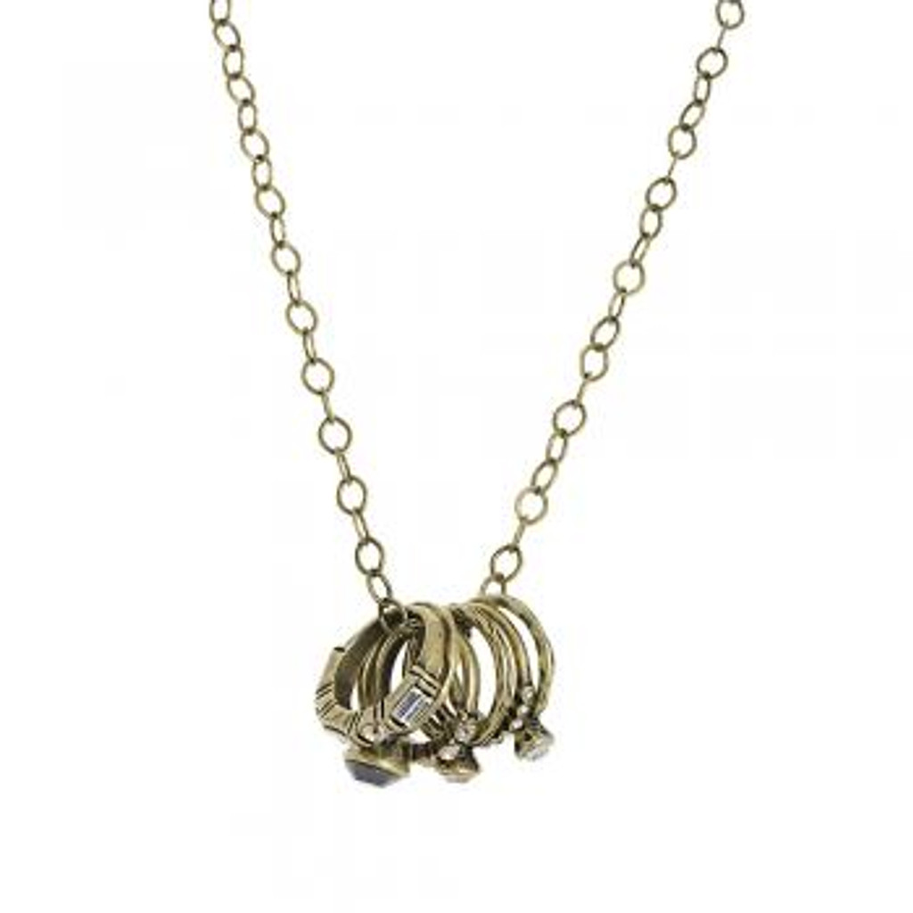 Stackable Bronze Rings on a Necklace
