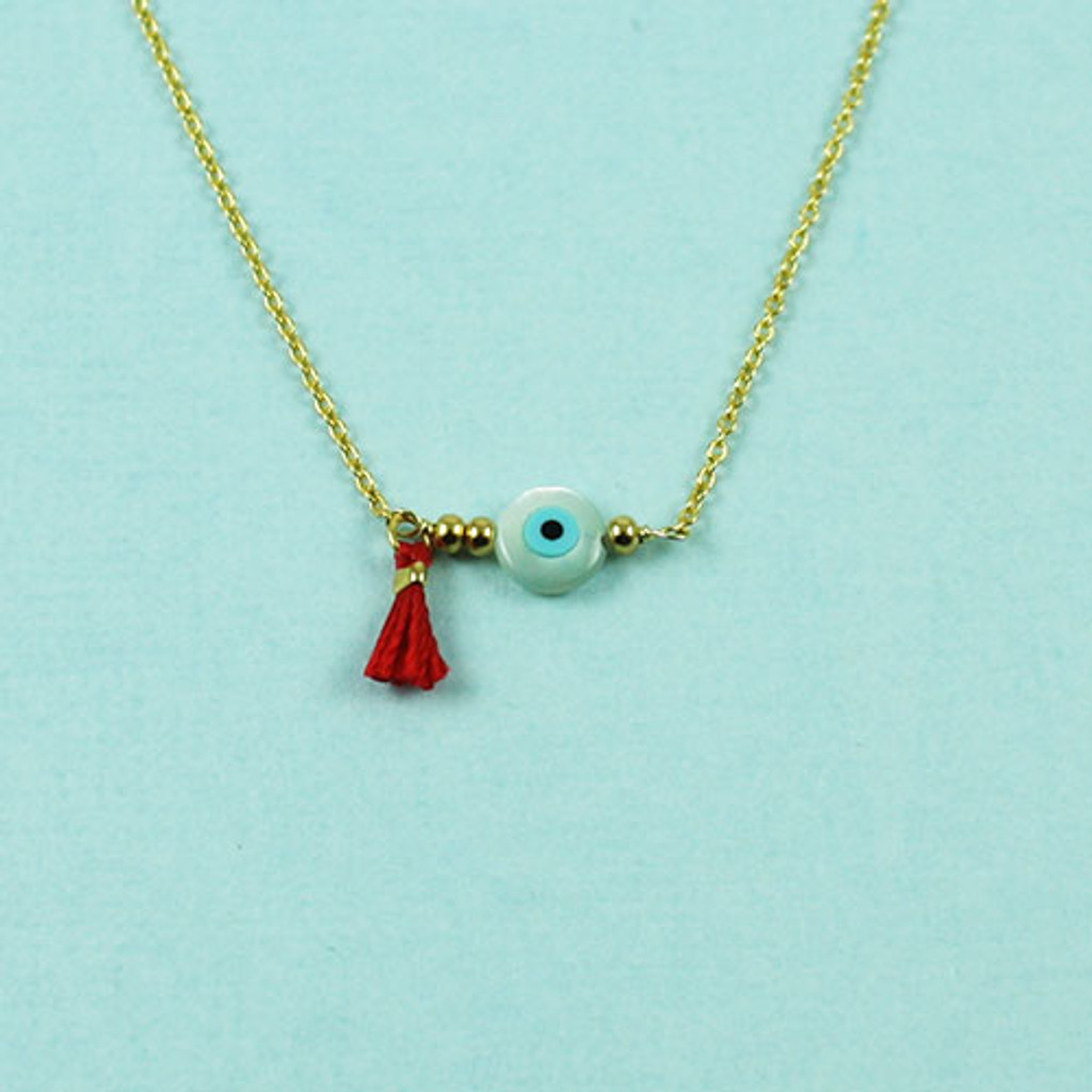 Evil Eye and Red Tassel Necklace 1