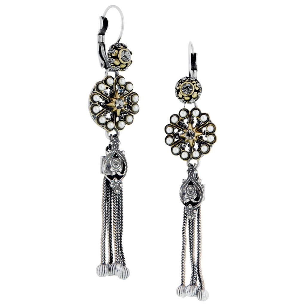 Antiqued Rose With Tassel Earring